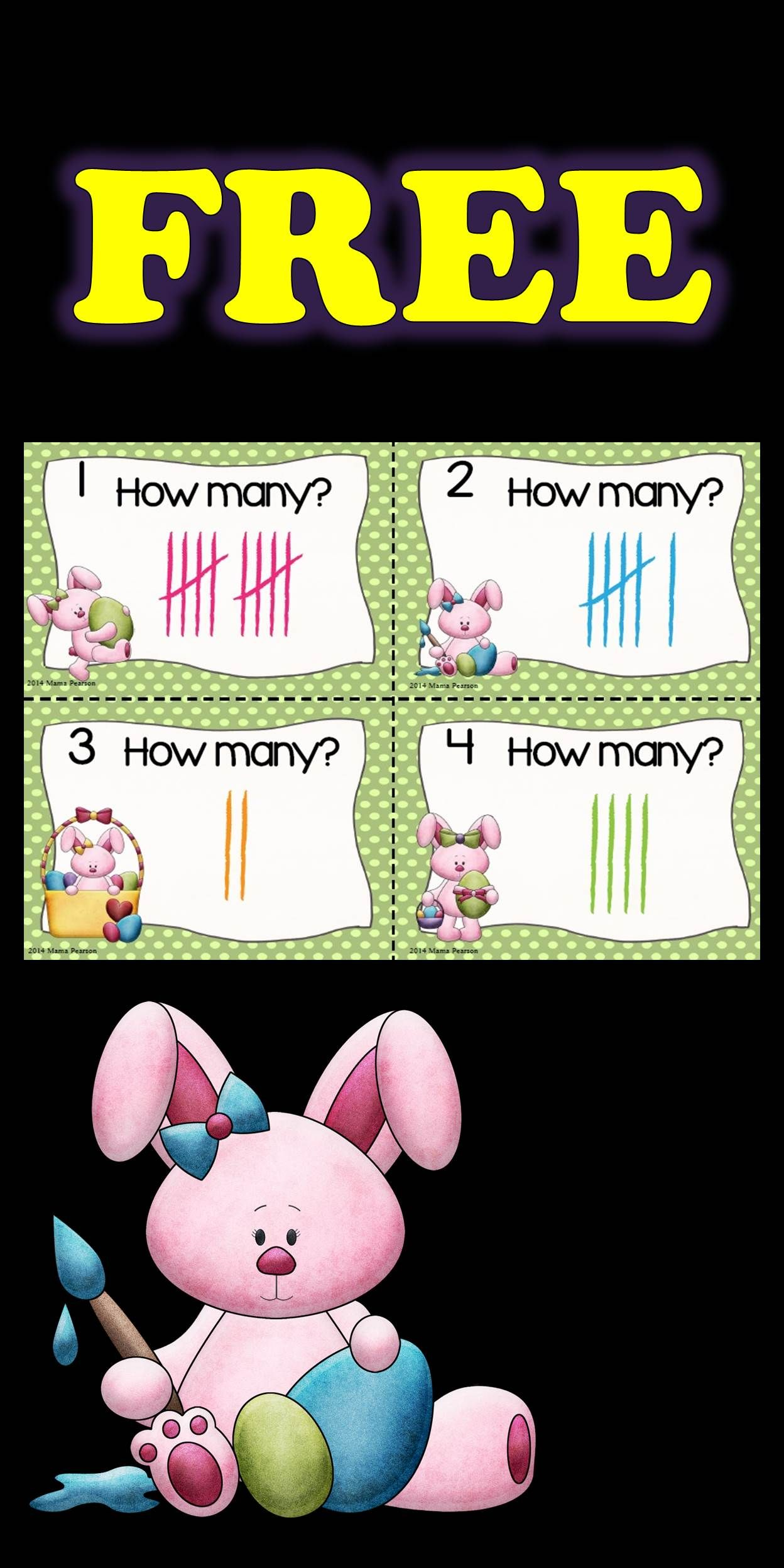 Free Easter Bunny Tally Marks Task Cards