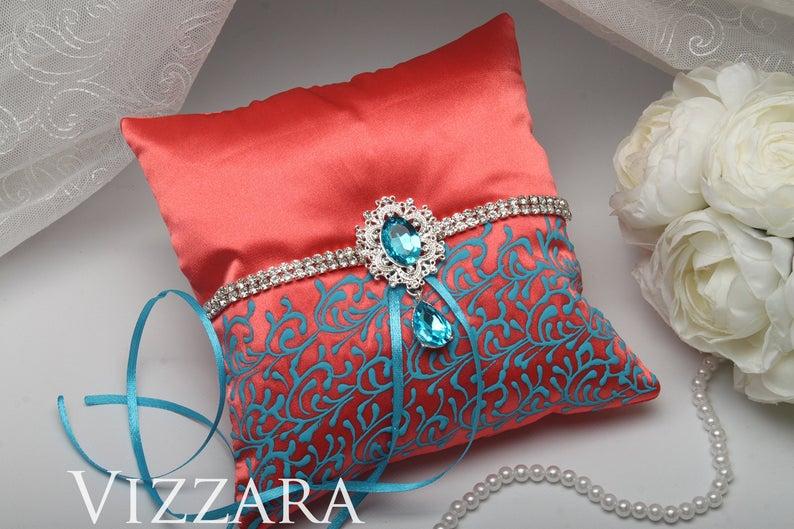 Ring bearers pillows Coral wedding Ring bearer pillow ideas Coral and turquoise wedding Wedding ring bearer pillows Aqua and coral wedding