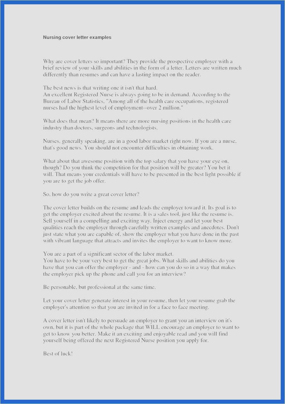 25 Nursing Cover Letter Examples Nursing Cover Letter Cover Letter Example Letter Example