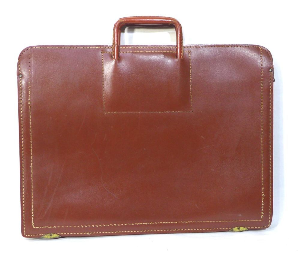 Vintage Antique Lifton Leather Briefcase Portfolio 1930s 1940s USA Union  Made  76a7f25d1bee8