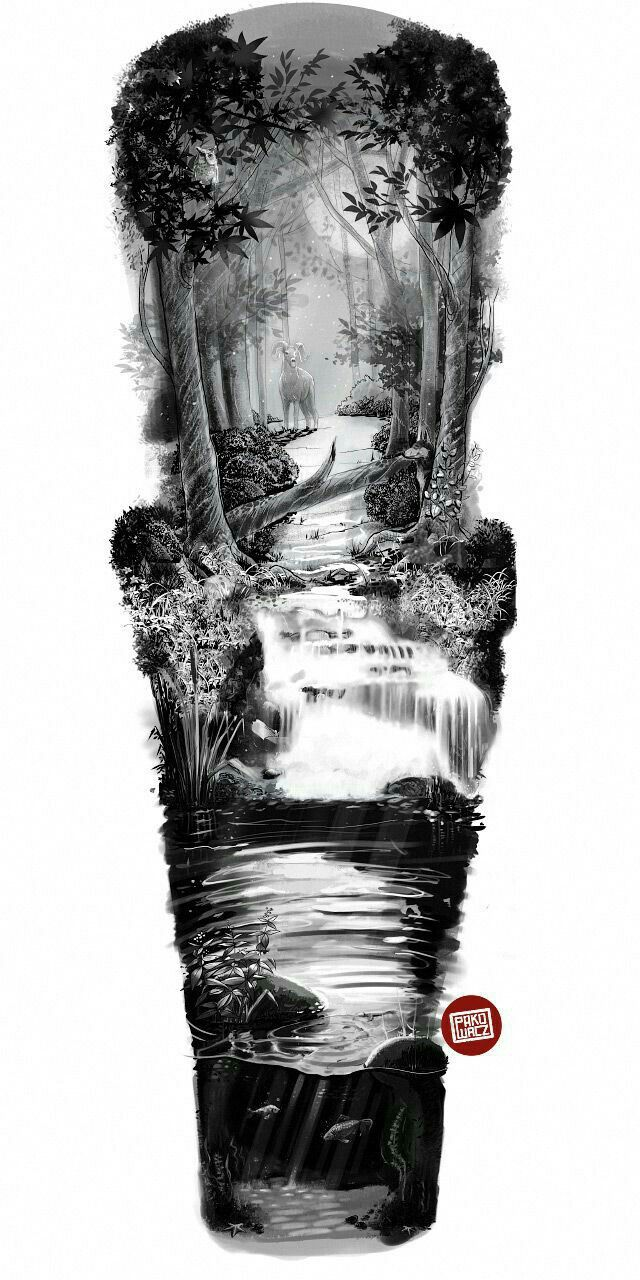 Mountains, forest and river, landscape tattoo. River Sleeve Tattoo Design Nature Tattoo Sleeve Half Sleeve Tattoos Designs Forest Tattoos