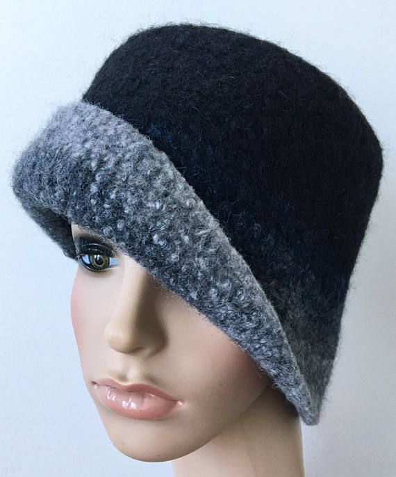 6e3ce93244146 Black Felted Hat Felted Rolled Brim Hat Handmade Felted Hat Women s ...