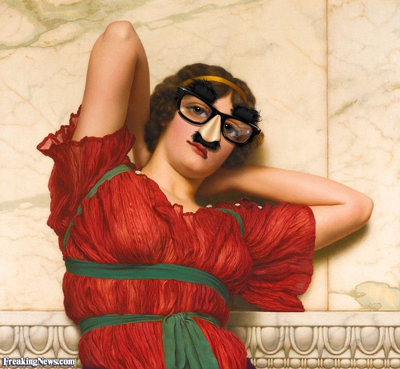 Woman in John William Godward Painting Wearing Glasses