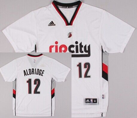 Portland Trail Blazers  12 LaMarcus Aldridge Rip City Revolution 30  Swingman 2014 New White Short-Sleeved Jersey 502eb72ce