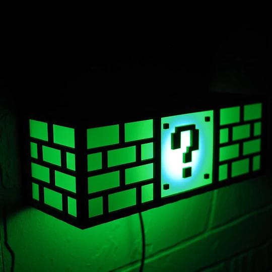 Super Mario Bros Question Block Lamp Man Cave Lighting Mario