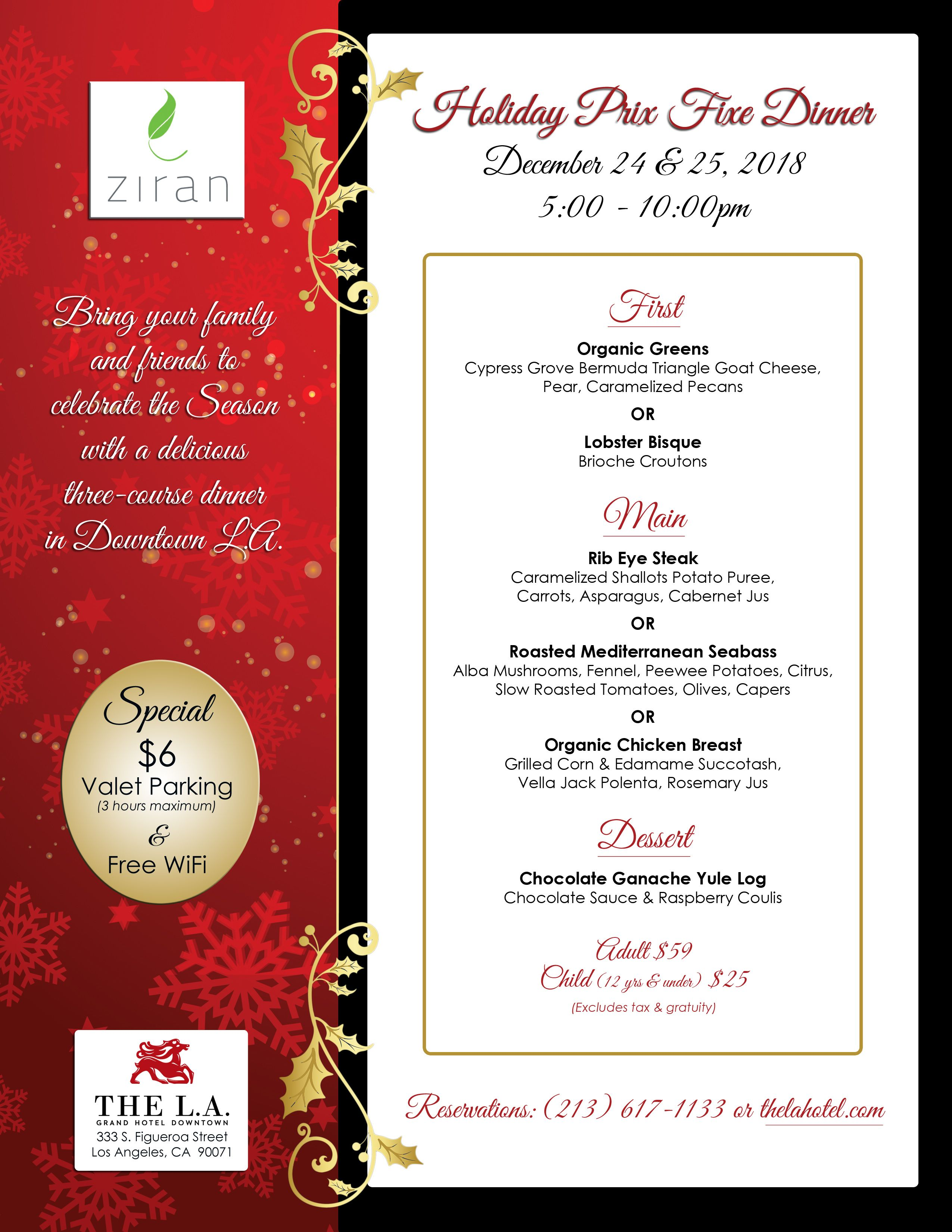 Christmas Eve Dinner At The La Grand Hotel Traditional Christmas Dinner Vegan Christmas Dinner Christmas Dinner Menu
