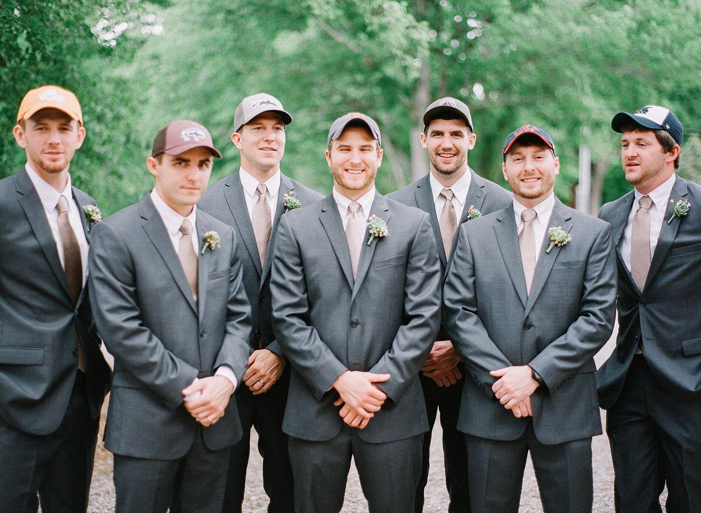 Groomsmen gift idea. Baseball hat groomsmen gift. Green Door Gourmet  Nashville wedding venue. Photo  Leslee Mitchell. 751b82f2697