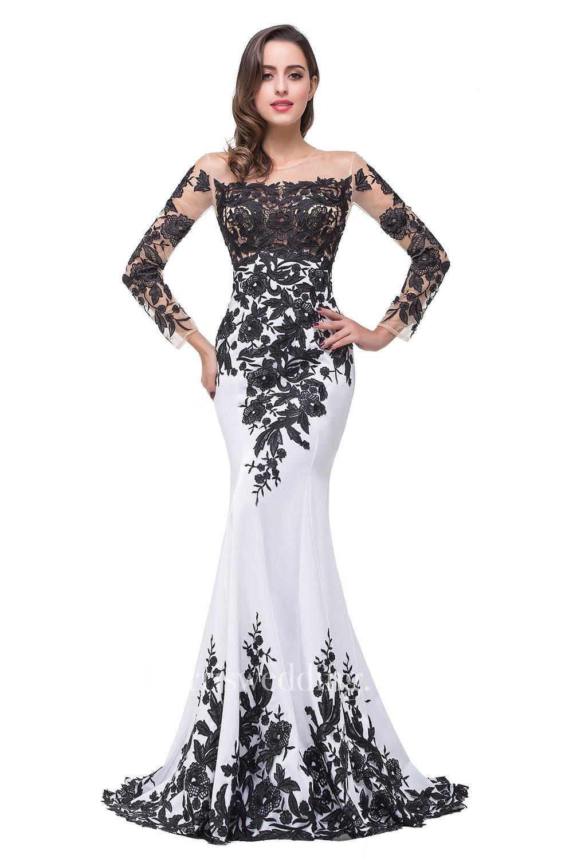 Glamorous Long Sleeve Mermaid 2018 Evening Dress Black