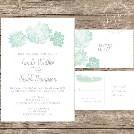 Watercolor Succulent Wedding Invitation Suite Order Black And White Prints Stamp Succulents On Them