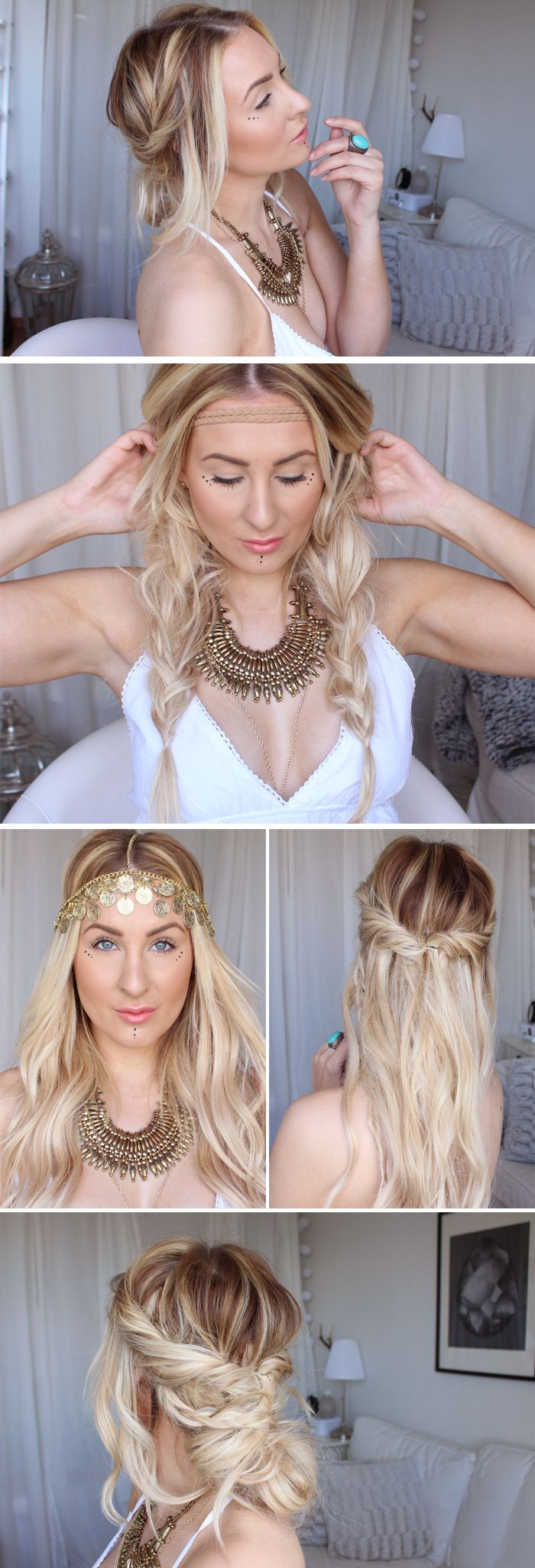 Easy summer festival hair tutorials boho hippie hiilen sminkblogg