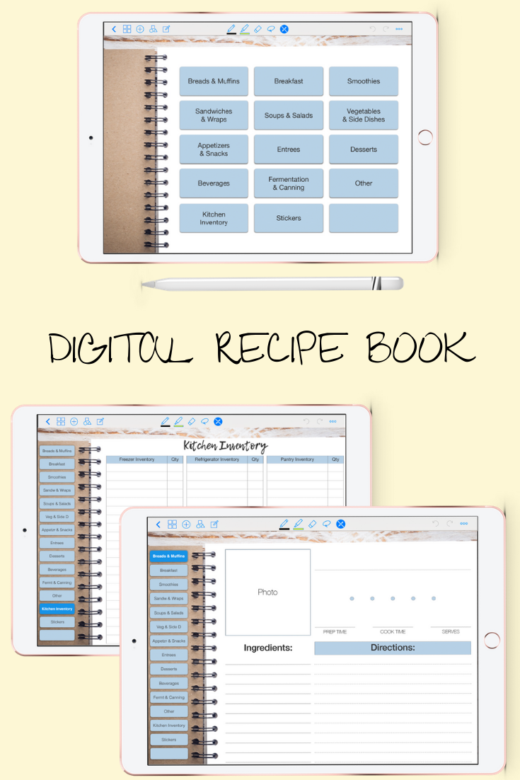 Digital Recipe Organizer Book Goodnote 5 Xodo Notability Cookbook Android Digital Recipe Book Digital Recipe Organization Recipe Book Organization