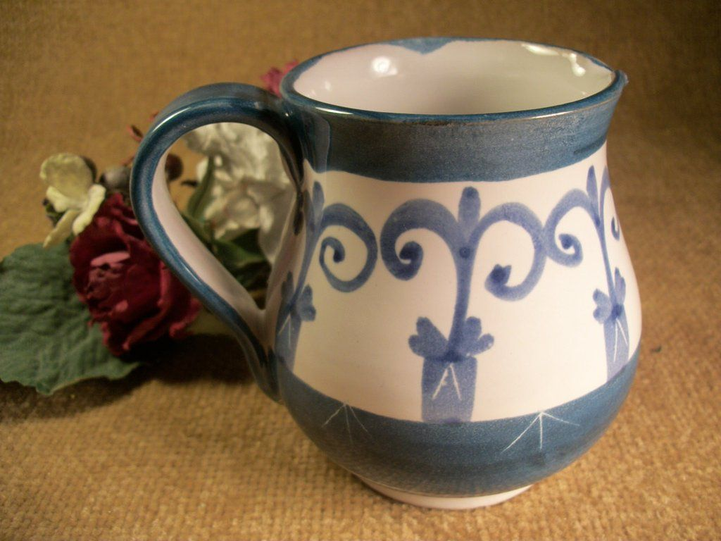 Pitcher Pottery Gravy Sauce or Syrup Serving Blue and White Handcrafted Ceramic…