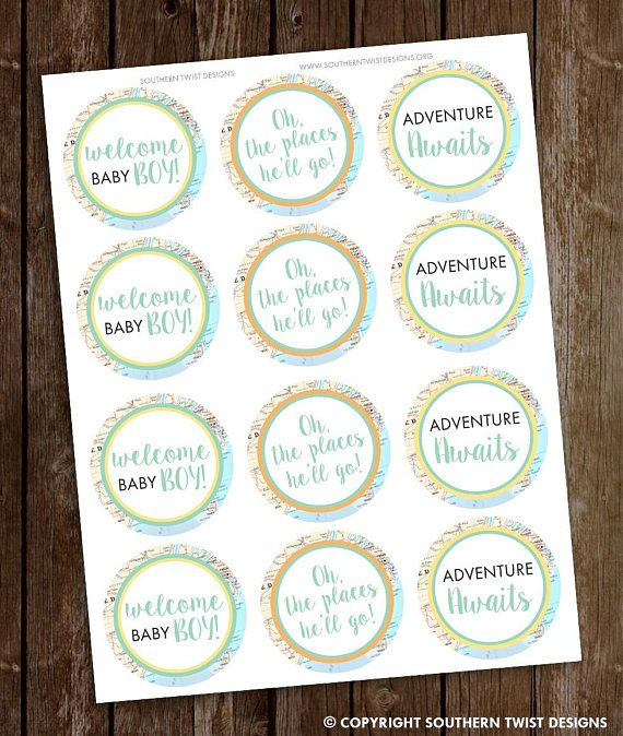 Boy Baby Shower Cupcake Toppers Cupcake Toppers Travel Baby Etsy Baby Shower Cupcake Toppers Travel Baby Showers Baby Shower Cupcakes
