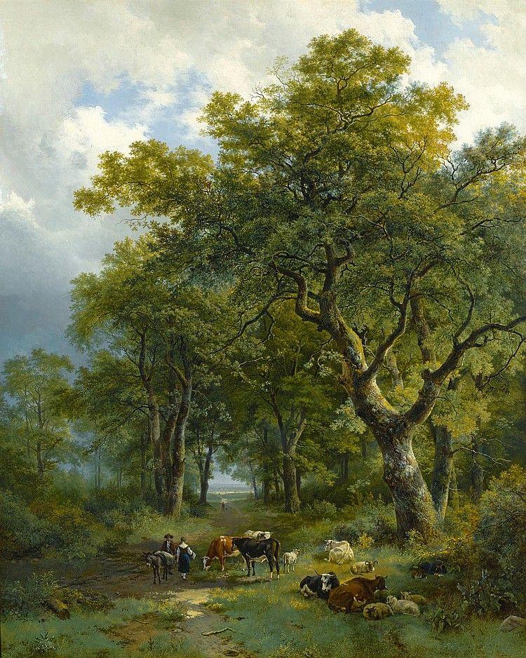 Barend Cornelis Koekkoek - Boslandschap met vee