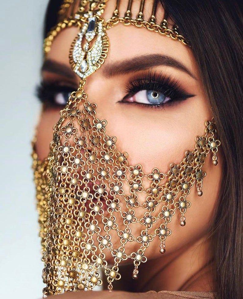 Manal Tribal Face Veil face chain tribal arabian mask
