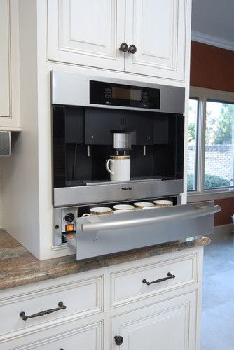 Built In Coffee Machine W Cup Warmer Drawer Cabinetry By Qcci Designed By Kitchens Unlimited Built In Coffee Maker Outdoor Kitchen Appliances Kitchen Design