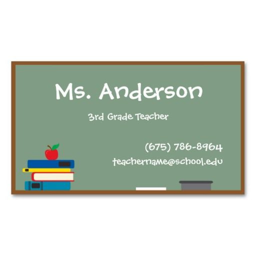 Teacher chalkboard business card business cards teacher business teacher chalkboard business card flashek Choice Image