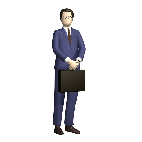 Standing Businessman With Suitcase Business Man Standing Poses Blue Suit