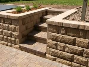 Landscaping Paver Block Stairs In Hill With Retaining Wall