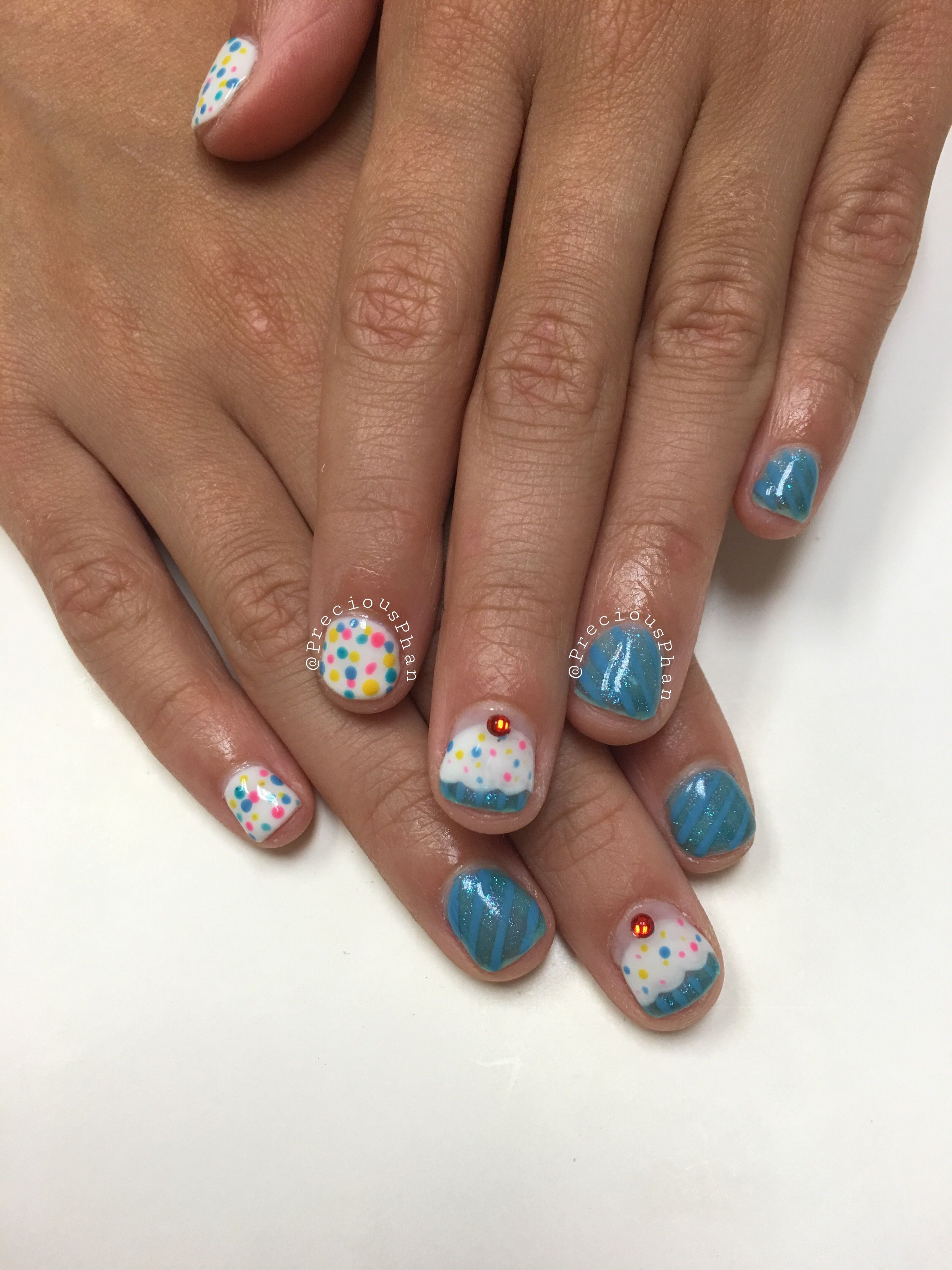 Birthday Nails Cupcake Kids Hands Preciousphannails