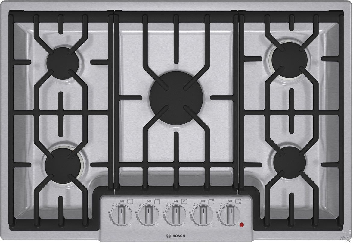 Bosch Ngm8054uc 30 Gas Cooktop With 5 Sealed Burners Continuous Grates And Automatic Re Ignition Kitchen Cooktop Gas Cooktop Kitchen Appliances