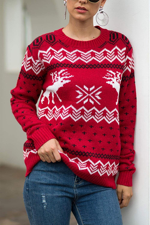 Mulisky Women's Casual Reindeer Snowflakes Christmas