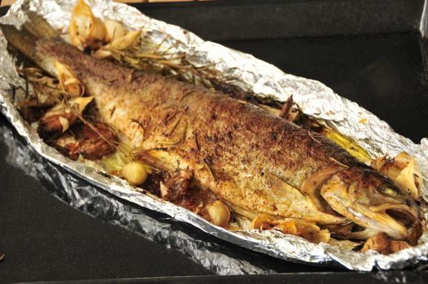 Rezept: Forelle aus dem Backrohr #seafoodstew