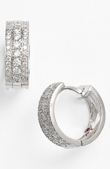 Roberto Coin Classic Diamond Small Hoop Earrings Nordstrom