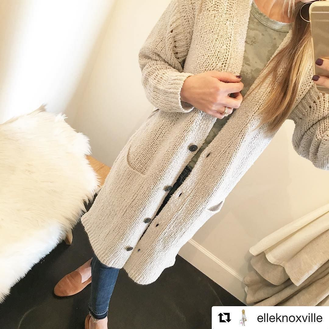 WANT!!! Cold weather and sweater time is here! @elleknoxville has got some ADORABLE sweaters cardigans jackets etc!! Go check them out!!  #Repost @elleknoxville  One of those - coziest goes with everything youll love it for years - kinda cardis. New from @brochuwalker . #knoxville #knoxvilletn #ilovelocalknoxville #boutique #knoxvilleboutique