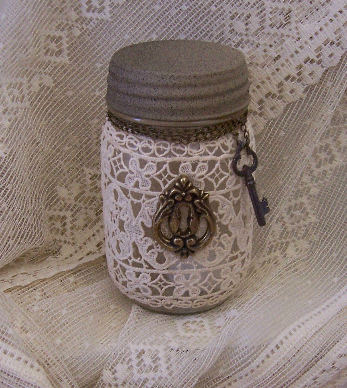 mason jar with flameless candle by Glenda Bailey via Etsy.