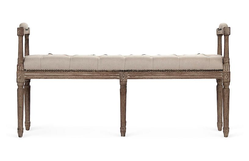Phenomenal Colby 51 Tufted Armed Bench Oat Linen Lamtechconsult Wood Chair Design Ideas Lamtechconsultcom
