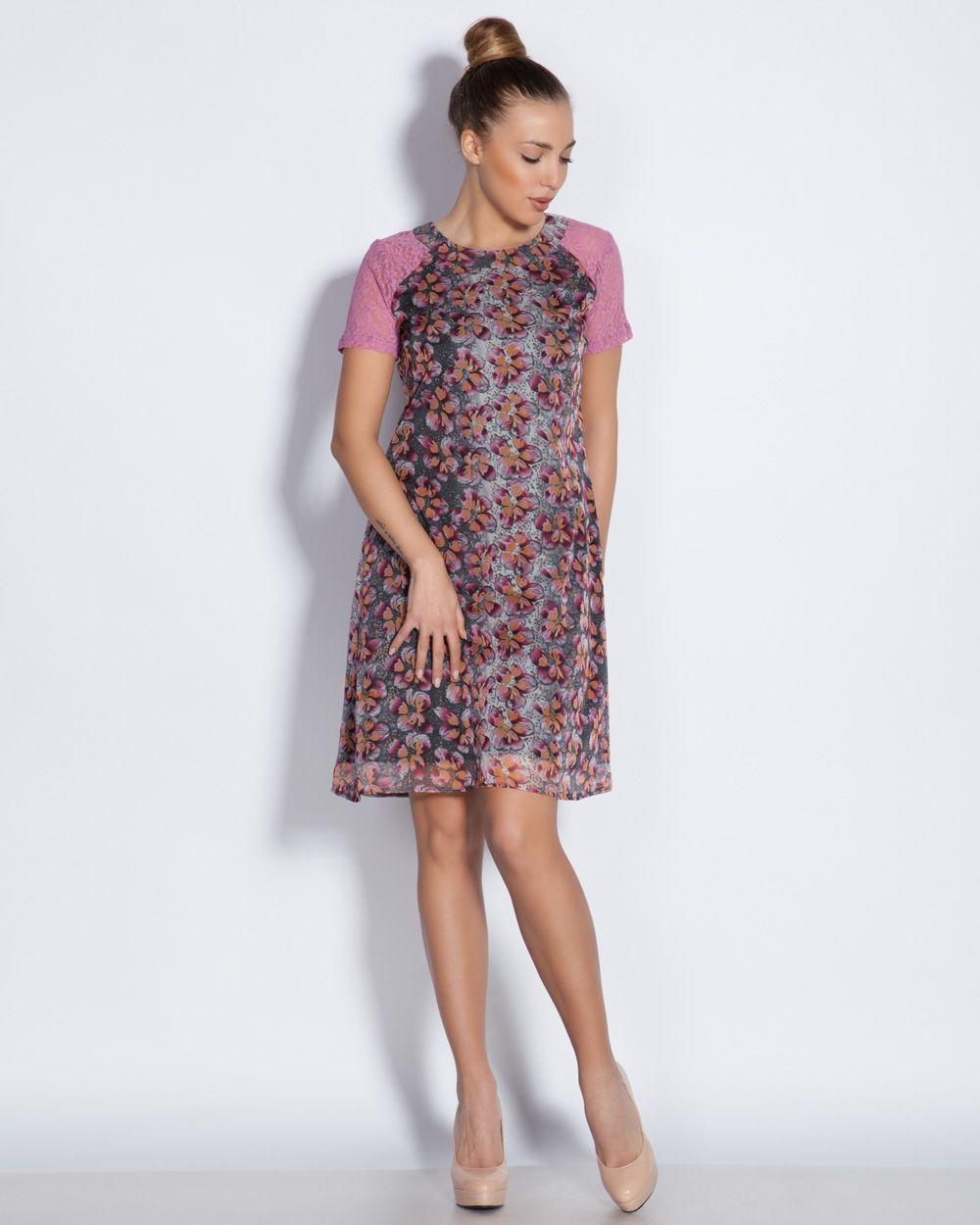 d8ffff73886 Дамска рокля от шифон и дантела с А-силует - цветен принт - Charo ...