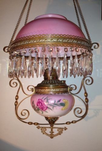 Antique Victorian Parlor Hanging Oil Lamp W