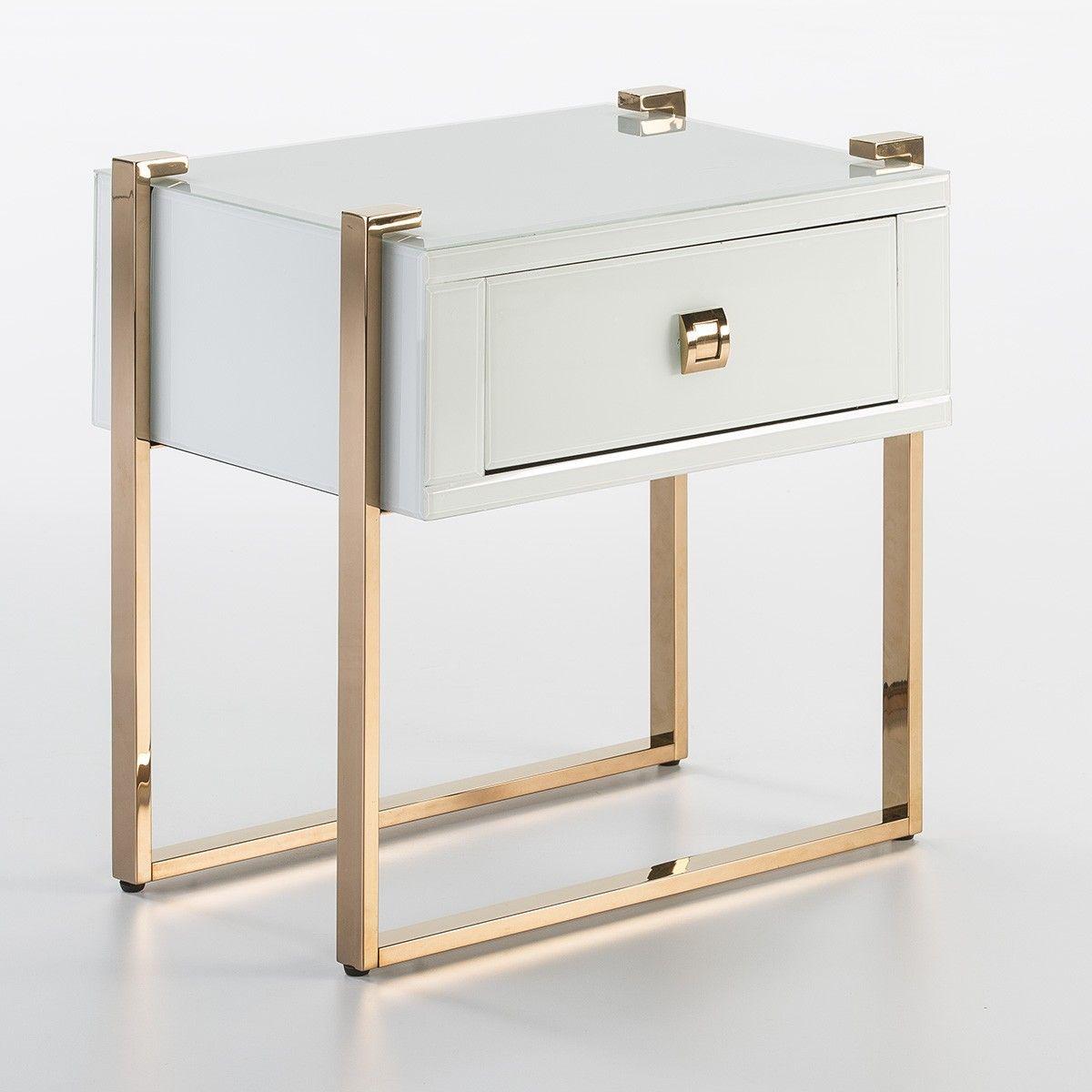 table de chevet 1 tiroir verre blanc et