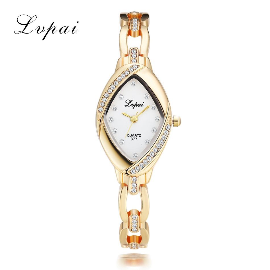 plated fashion crystal ladies wristwatch dress business watches women products bracelet luxury quartz watch brand lvpai gold