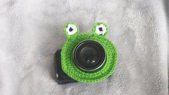 Crochet Crazy Frog Camera Lens Buddy, Frog Camera Lens Prop, Animal Camera Buddy, Crochet Camera Acc