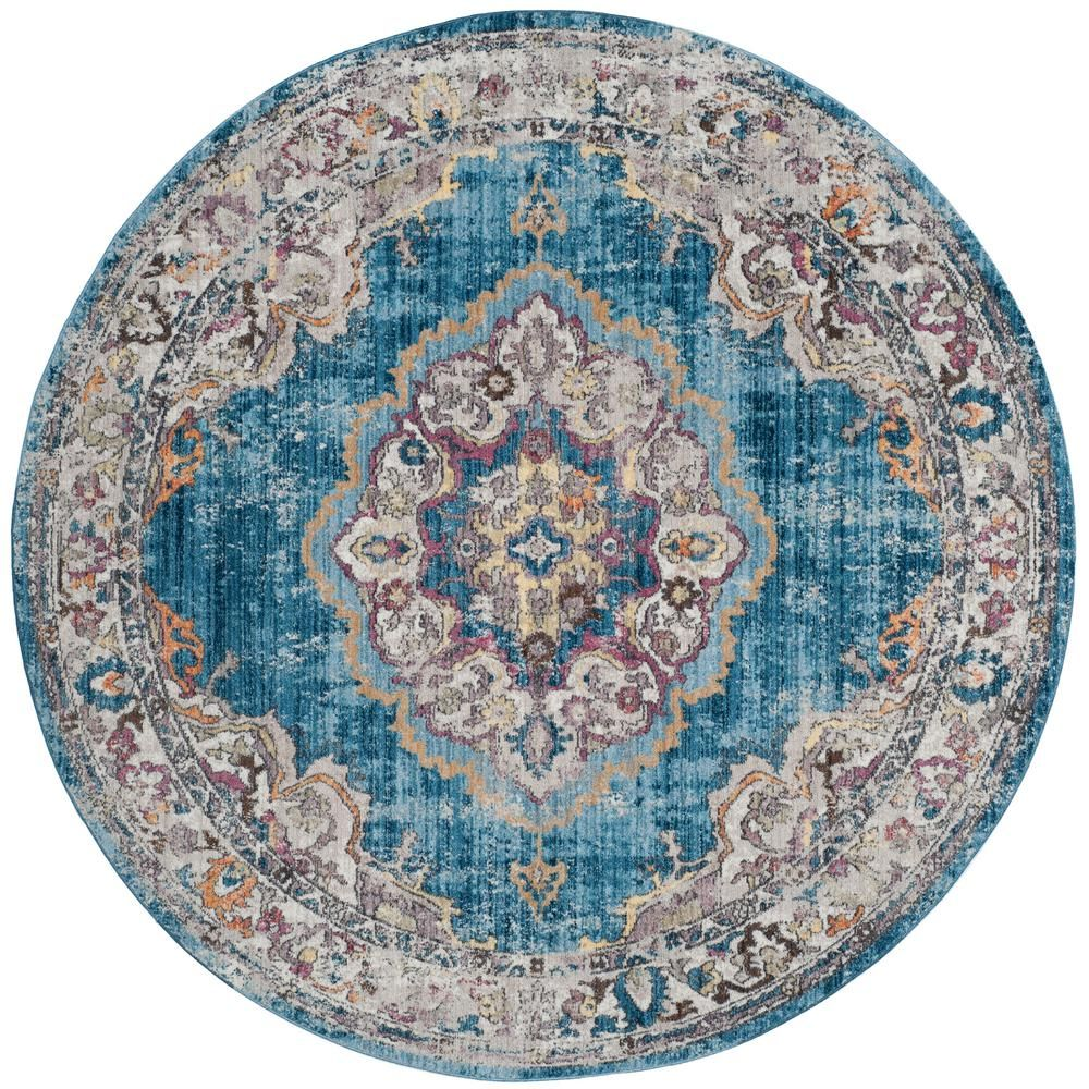 Bristol Blue Light Gray 7 Ft X Round Area Rug