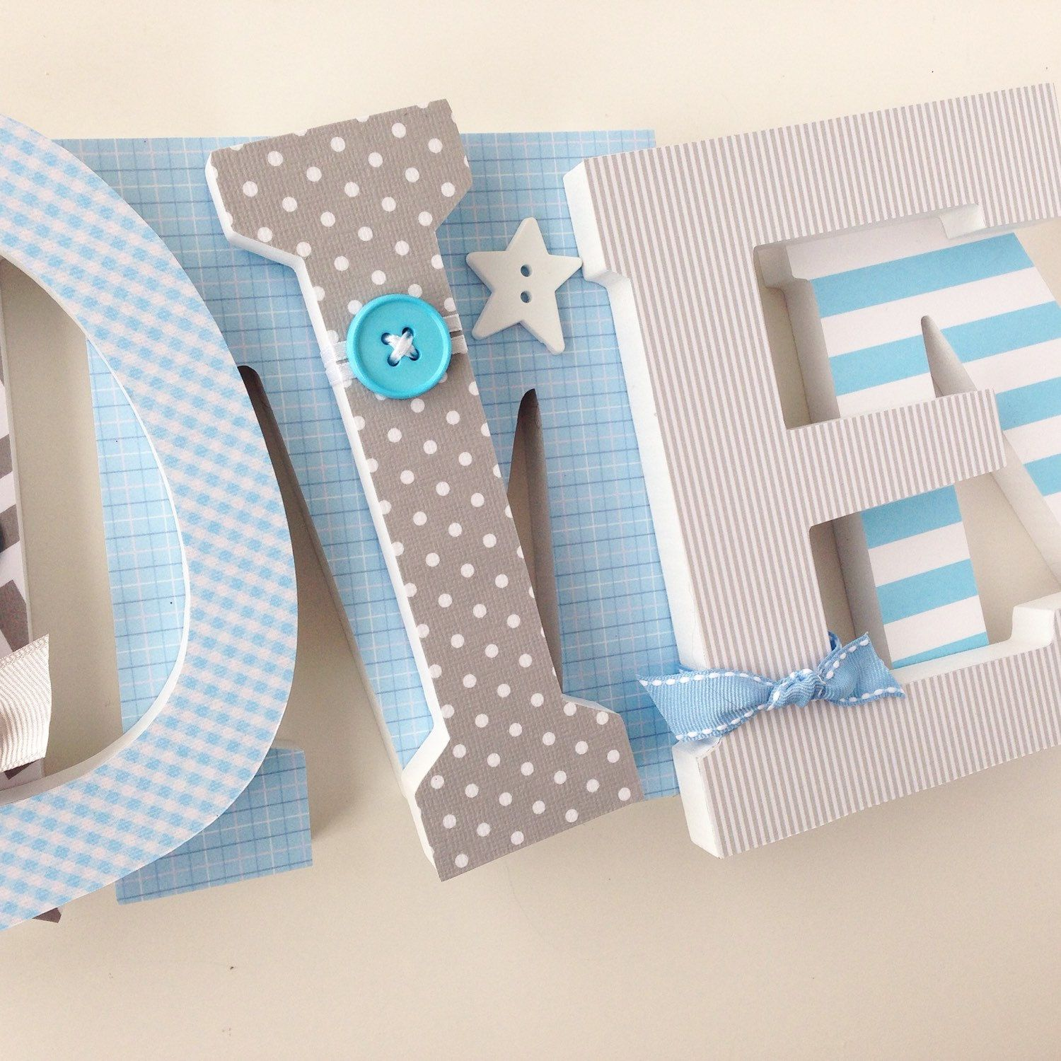 Baby Name Wooden Letters Gray And Light Blue Personalized