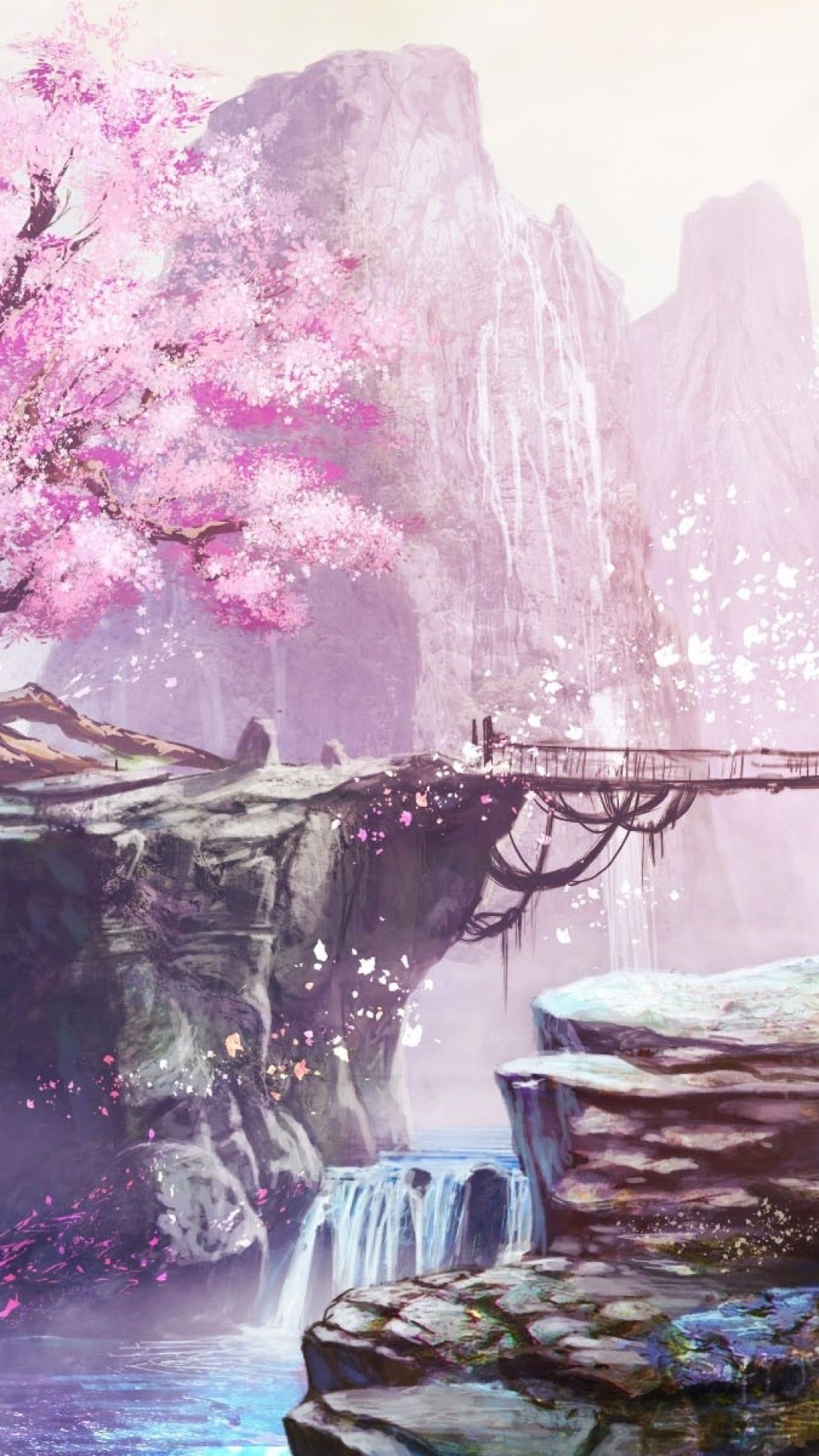 1080x1920 anime landscape cherry blossom bridge - Anime cherry blossom wallpaper ...