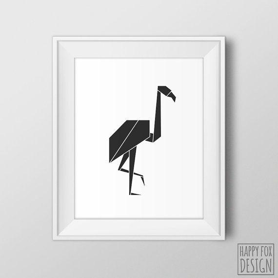Geometric Flamingo Bird Art Origami Flamingo Print Black And White