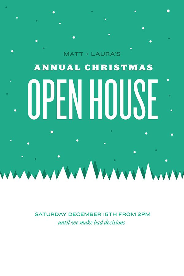 Open House Happy Hour Christmas Party Invitation Announcements
