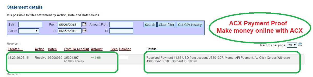 Making Money At ACX Is Simple!!! And I love making money online with Ad Click Xpress: http://www.adclickxpress.com/?r=f6nnqn3vw9s&p=mx Date : 06/26/2015 13:29 To Pay Processor Account: U5301307 Amount : 41.66 Currency : USD Batch : 93008939 Memo: API Payment. Ad Click Xpress Withdraw 4388804-18028..  Thank you, Admin!