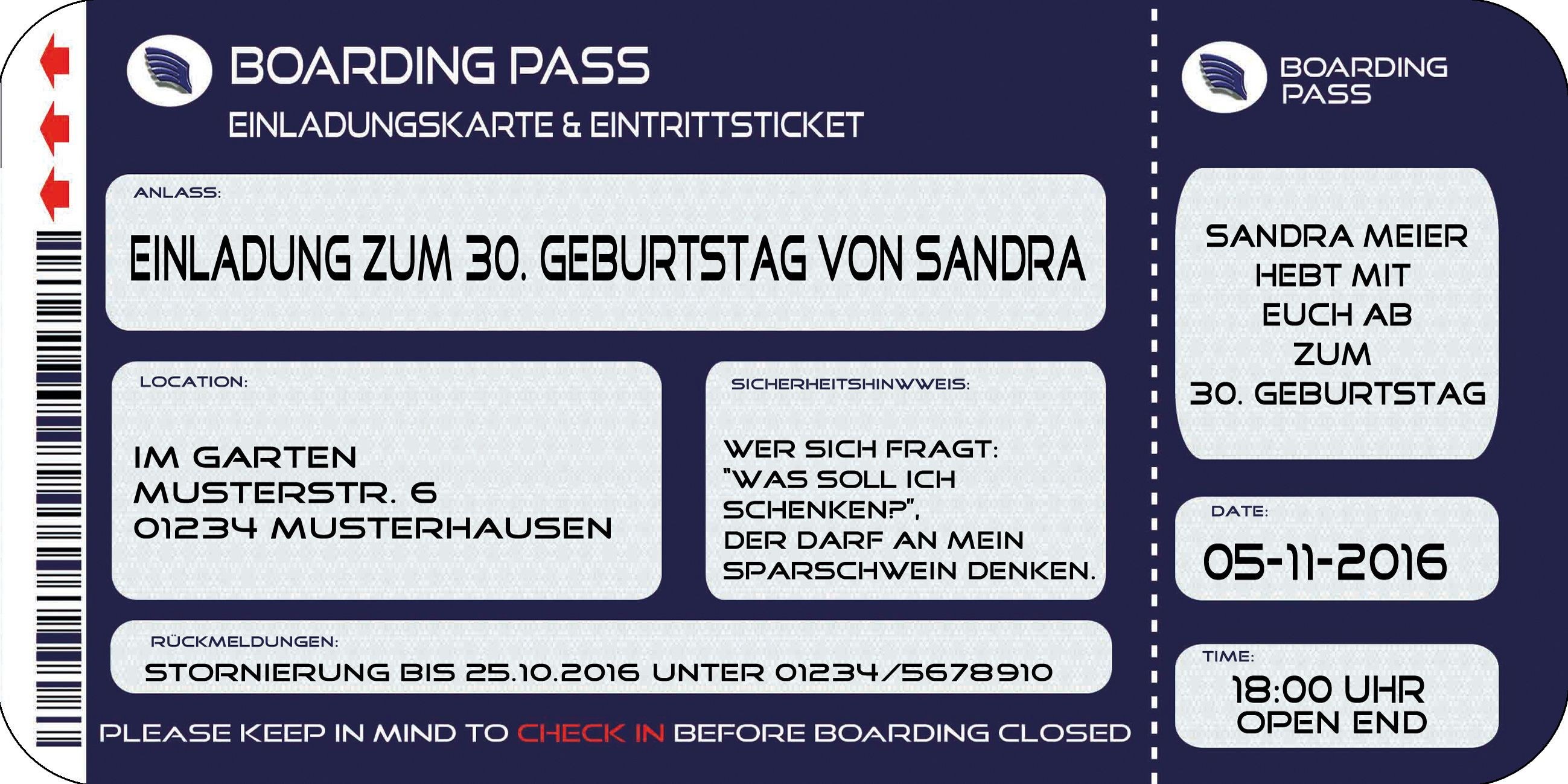 einladungskarten zum 30. geburtstag kostenlos download | basteln, Einladung