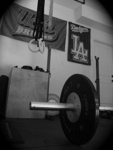 Garage Gym. A barbell, pull up bar, rings, and a box.