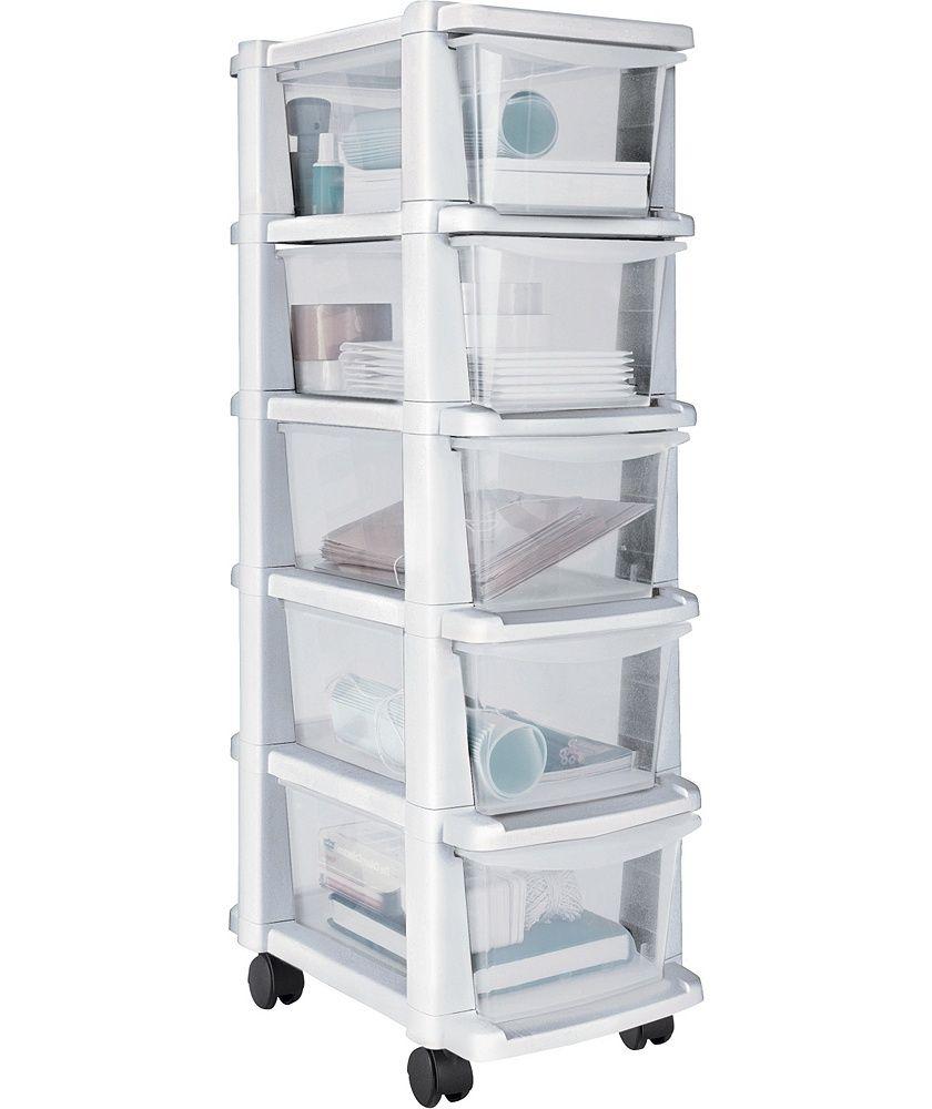 Beau Tall 5 Drawer Plastic Slim Tower Storage Unit