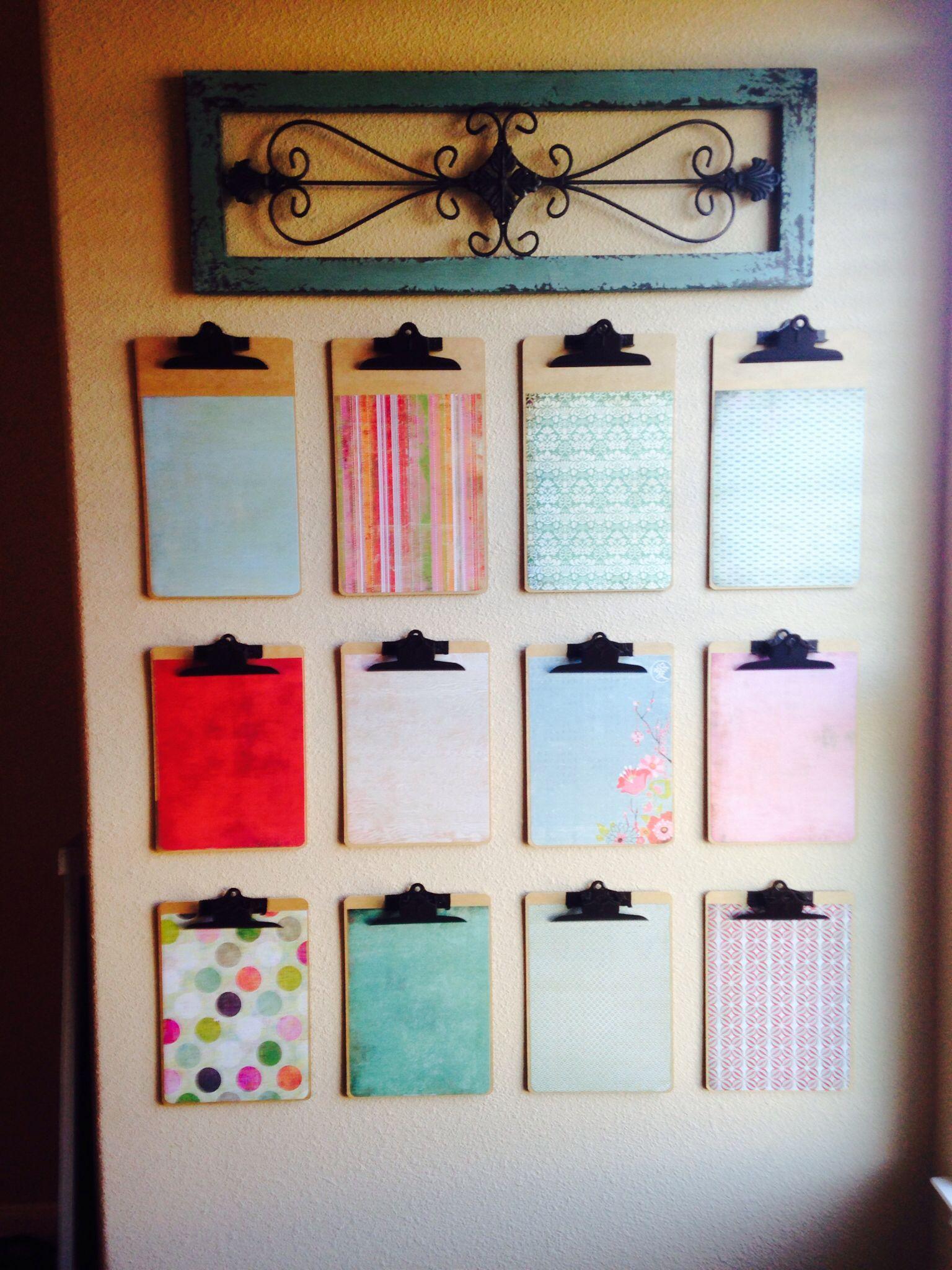 Scrapbook paper display - Scrapbook Paper On Clipboards For The Children S Artwork Or School Work Display Great Game Room
