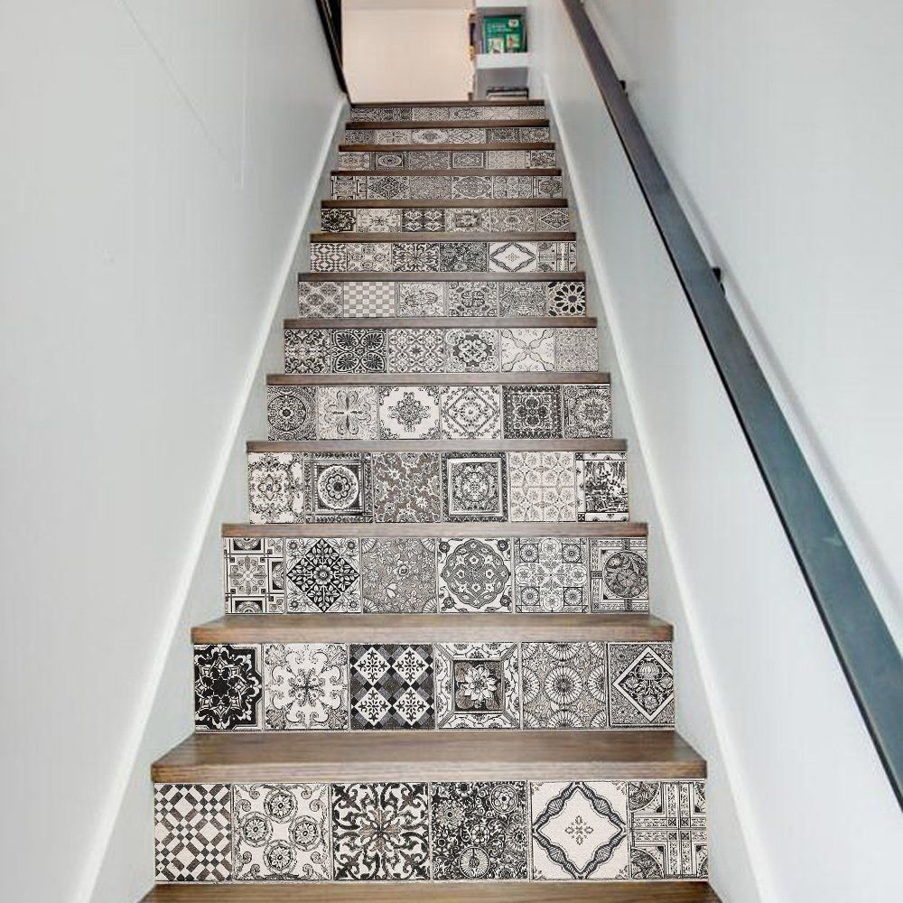 Funlife stair decor wall stickers ceramic tiles patterns art and funlife stair decor wall stickers ceramic tiles patterns art and crafts mission and vintage style stair dailygadgetfo Image collections