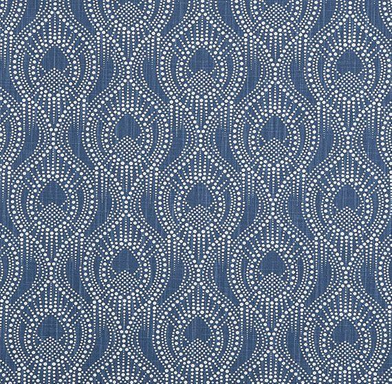 Navy Blue Home Decor Fabric By The Yard Designer Subtle Etsy Geometric Curtains Geometric Fabric Home Decor Fabric