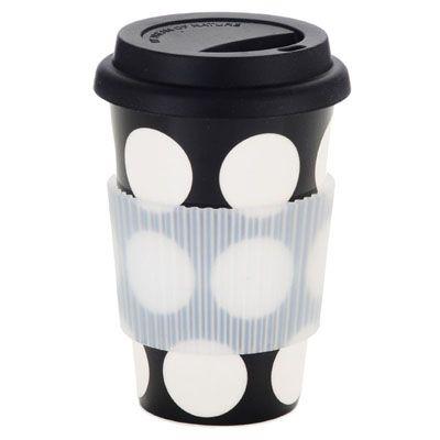 French Bull - Black White Dot Travel Mug