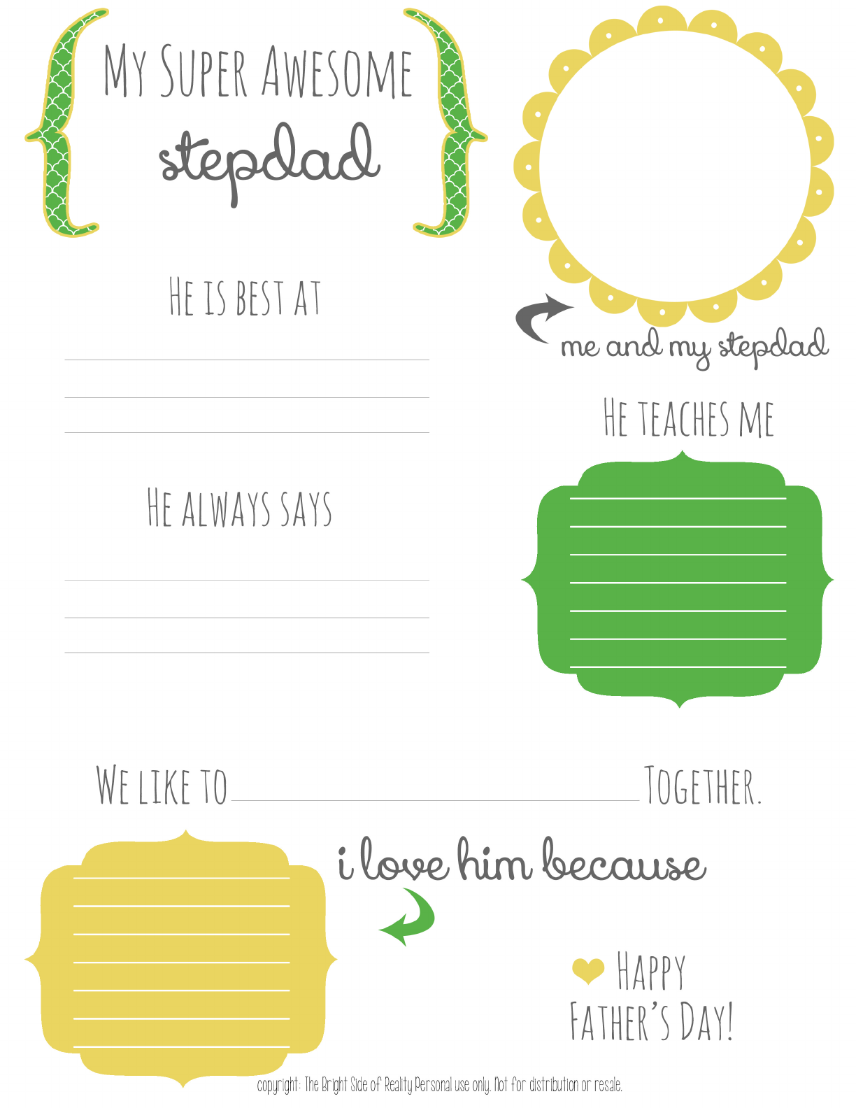 Stepdad Fathers Day Free Printable For Kids Pdf